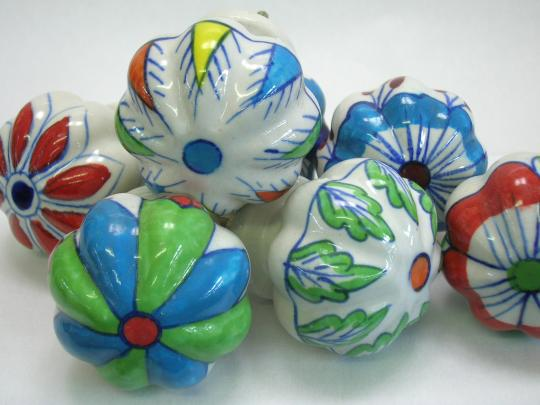 Large ceramic painted knobs