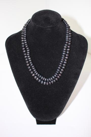 black pearl double strand necklace