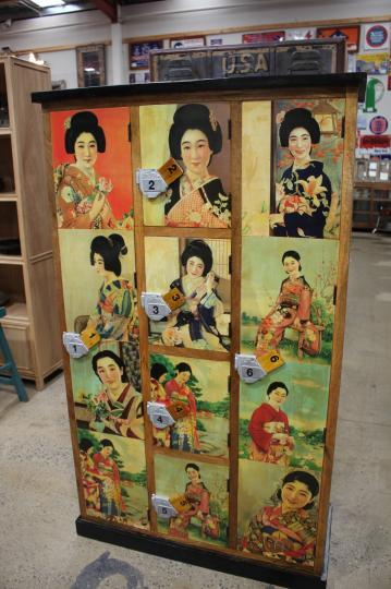 Lockers with Japanese Girl Art